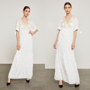 BCBG MAX AZRIA Alysa White Embroidered Maxi Dress